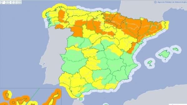 Mapa de riesgos meteorológicos previsto para el 28 de febrero