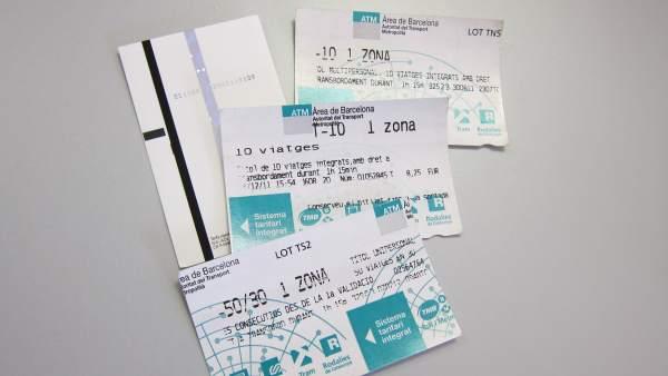 Billetes De TMB De Metro Y Bus De Barcelona (T-10, T-50/30).
