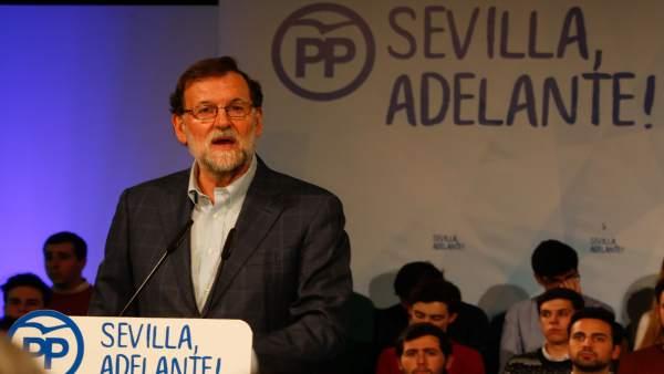 Mariano Rajoy, hoy en un acto en Sevilla