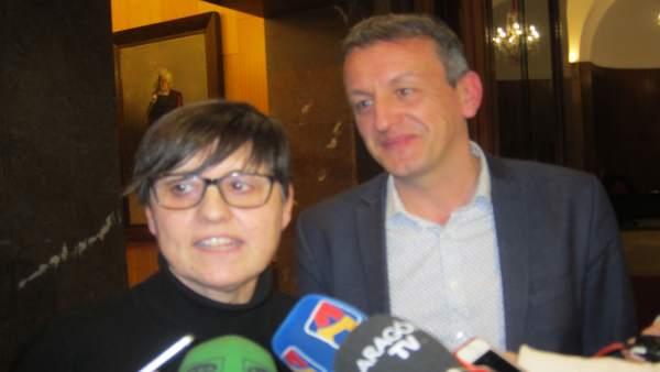 Elena Laseca y Fernando Rivarés, hoy en el Ayuntamiento