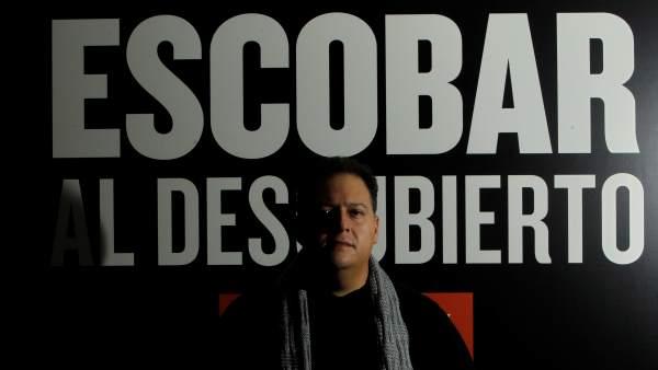 Juan Pablo Escobar, hijo del narcotraficante colombiano Pablo Escobar, presentando en Madrid el documental sobre su padre 'Escobar al descubierto'.