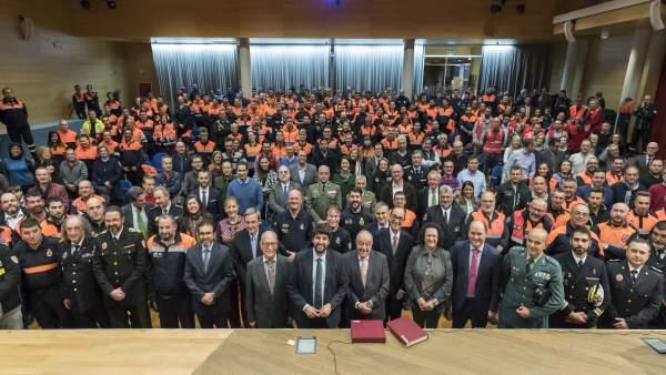 O López Miras preside el primer acto de homenaje a la Protección Civil
