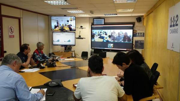 Reunión Comité PECMAR desde la sala 112 de Las Palmas de Gran Canaria