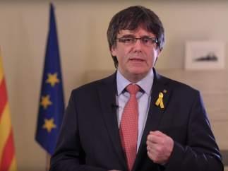 Carles Puigdemont durante el mensaje del 1-M.