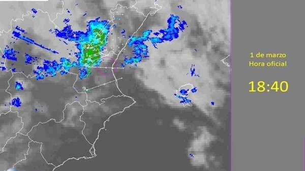 Imagen del radar con el paso de la última banda de lluvias