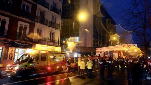 Derrumbe de un muro en Madrid