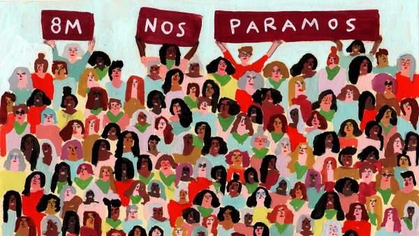 Ilustración sobre la huelga feminista del 8 de marzo