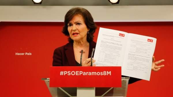 Carmen Calvo, secretaria de Igualdad del PSOE, este viernes en Ferraz.