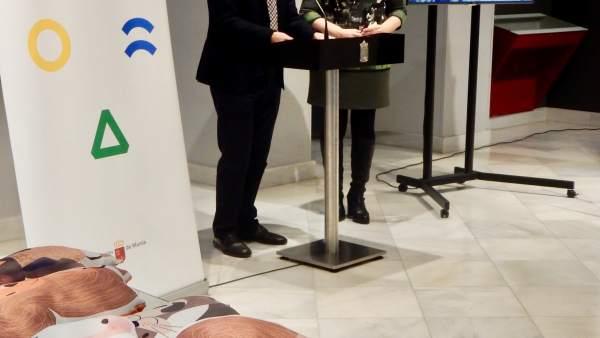 Celdrán y Rosauro, durante la rueda de prensa