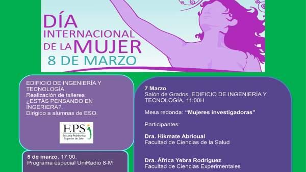 Cartel de la programación de la UJA con motivo del Día Internacional de la Mujer