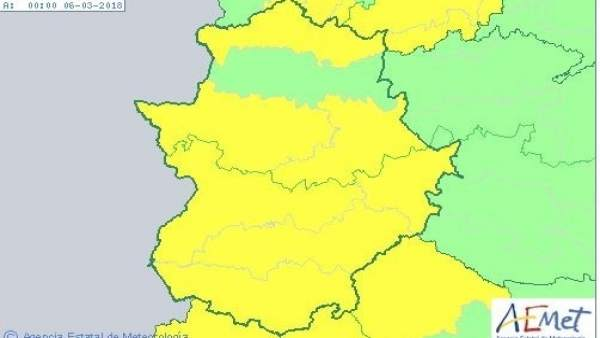 Avisos de Aemet para el lunes en Extremadura
