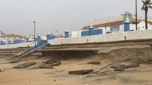 Temporal en playas de Huelva