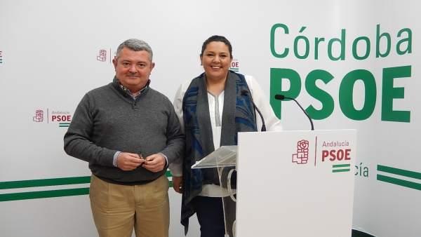 Jesús María Ruiz y Dolores Amo en la sede del PSOE cordobés