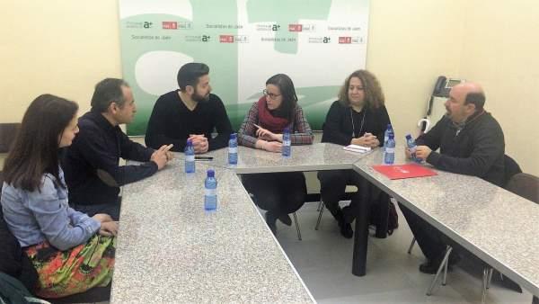 Reunión del PSOE de Jaén con representantes de UGT y CCOO.