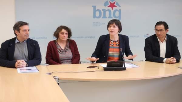Ana Pontón (BNG) , Sanmartín, Bará y Leira en rueda de prensa