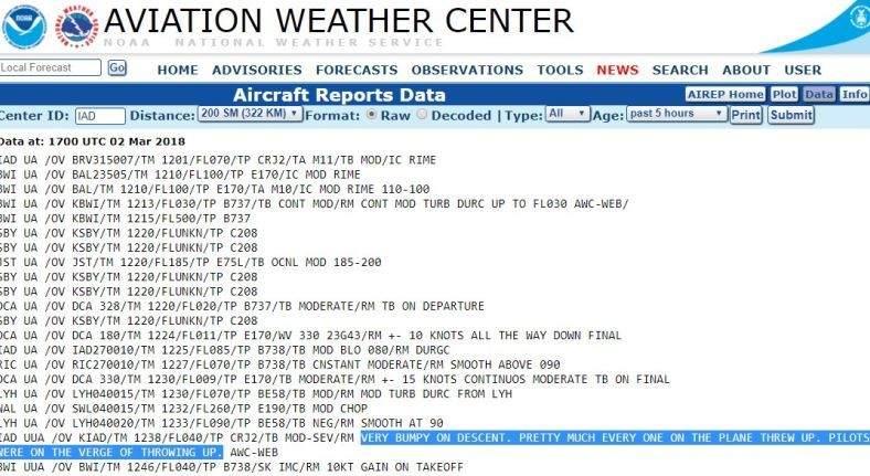 El informe de la NOAA sobre el vuelo.