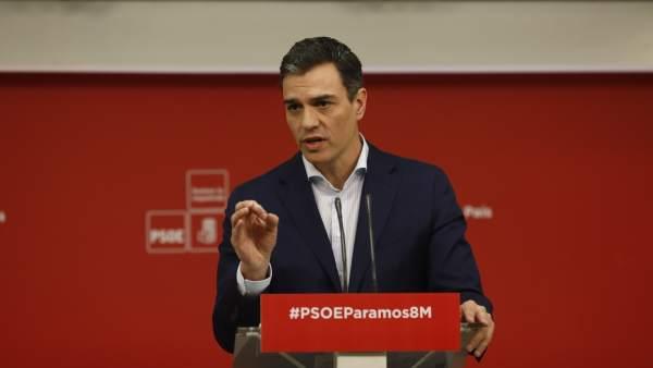 Pedro Sánchez, secretario general del PSOE, este lunes.