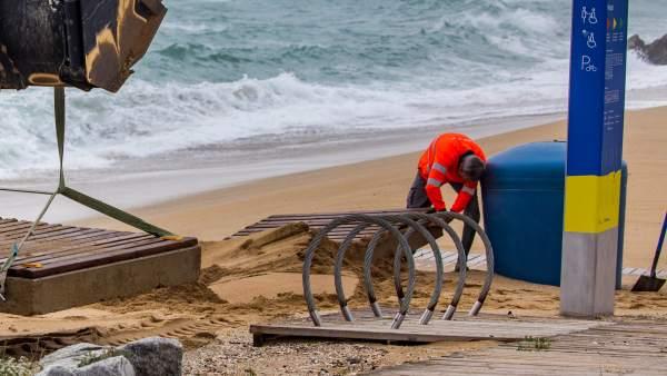 Playa afectada por un temporal