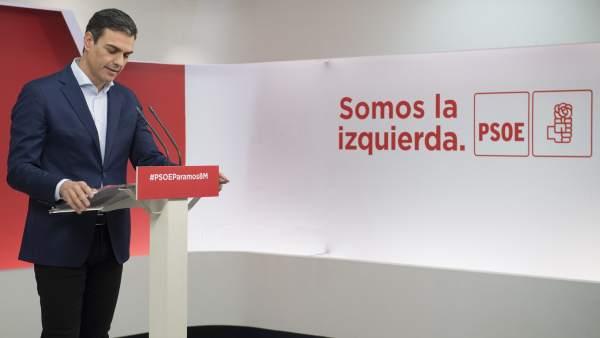 Pedro Sánchez, secretario general del PSOE, este lunes en Ferraz.