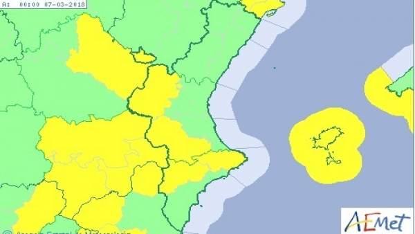 Temperatures de fins a 19ºC i vents de fins a 80 km/h aquest dimarts a la Comunitat Valenciana