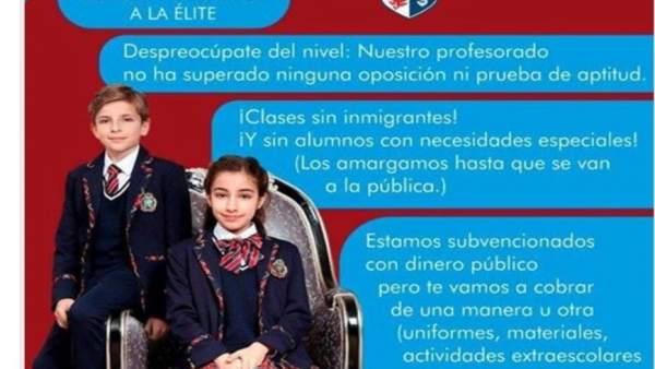 Cartel difundido en redes sociales contra la concertada.
