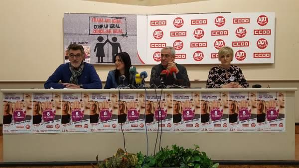 Rueda de prensa de UGT y CCOO de Navarra.