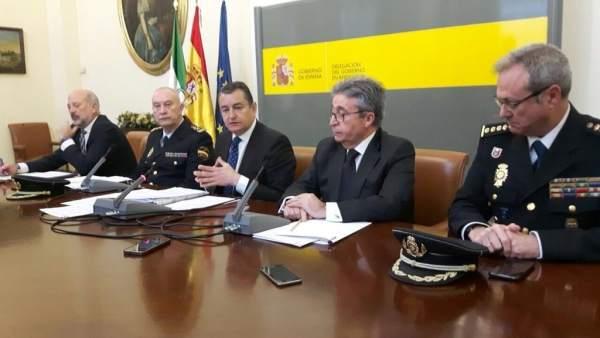 Delegado del Gobierno en Andalucía, Antonio Sanz, en rueda de prensa en Sevilla