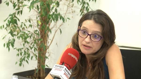 Oltra en la entrevista con Europa Press