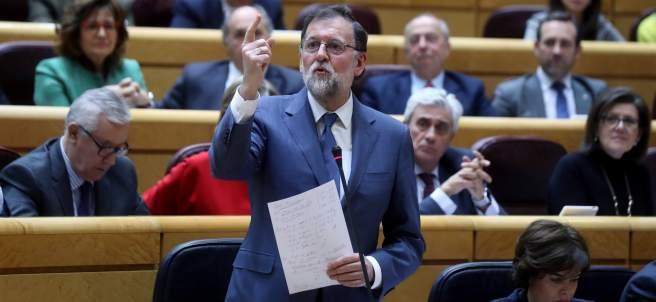 El presidente del Gobierno, Mariano Rajoy, este martes en el Senado.