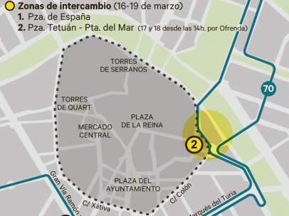 Zonas de intercambio de la EMT de València en el dispositivo de Fallas.