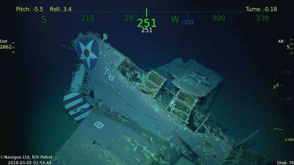 Restos del portaaviones estadounidense USS Lexington