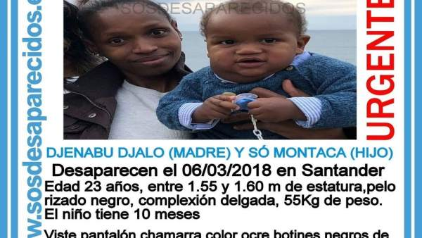 Cartel para la búsqueda de la madre y el hijo desaparecidos en Cantabria