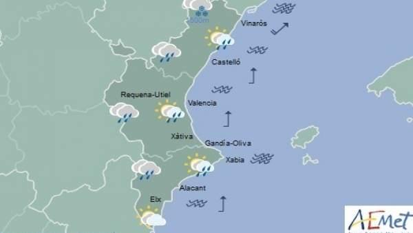 Pluges matinals i temperatures en ascens a la Comunitat Valenciana