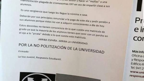 Carteles contra movimiento feminista en la UR
