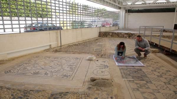 Restauración del mosaico de la Medusa de la Villa Romana de Río Verde de Marbell