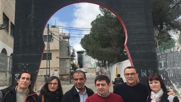 Hidalgo (izda.) durante el viaje a Palestina