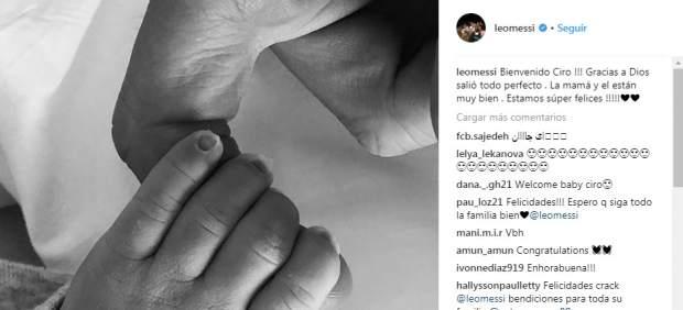 Leo Messi publica la primera imagen de Ciro, su tercer hijo