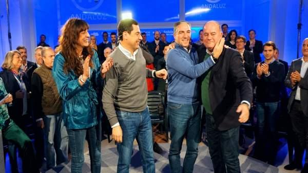 López, Bendodo, Moreno y Barón en un acto del PP en Antequera