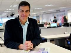 Pedro Sánchez, secretario general del PSOE, en la redacción de 20minutos.