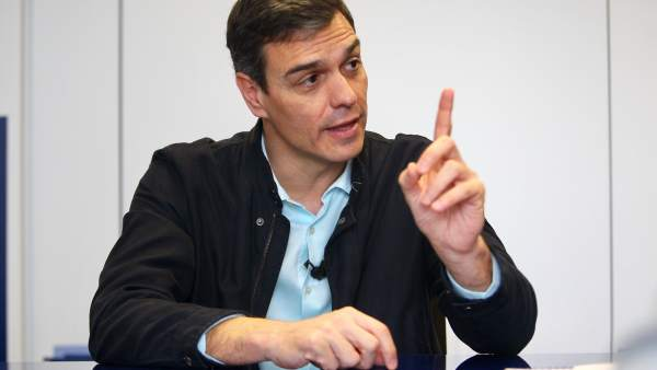 Pedro Sánchez, secretario general del PSOE, durante la entrevista con 20minutos.