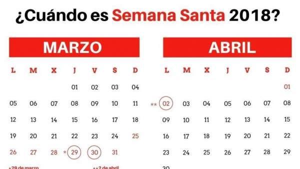 Calendario de Semana Santa 2018