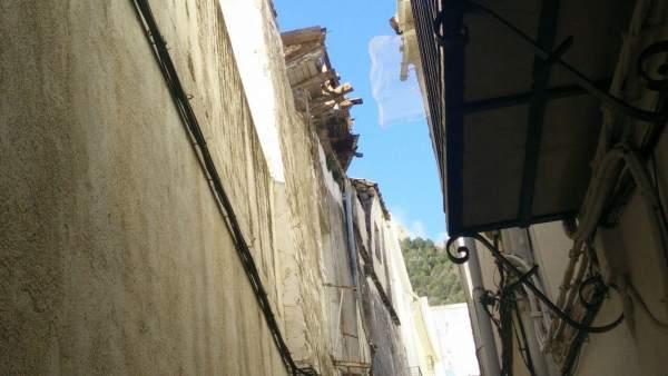 Situación del inmueble derrumbado en la calle Vicario