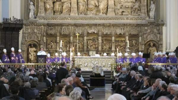 Misa funeral del arzobispo emérito de Zaragoza, Elías Yanes