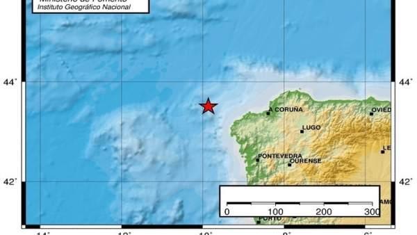 Terremoto registrado frente a las costas gallegas