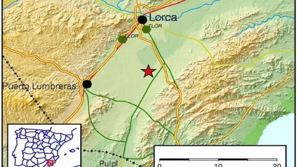 Imagen del lugar en el que se ha registrado el terremoto, en Lorca