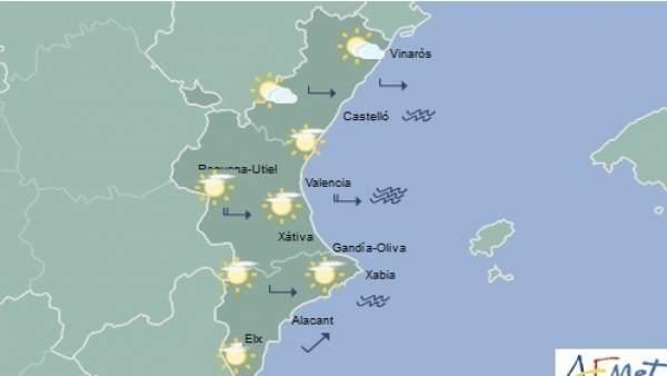 Pluges febles i temperatures sense canvis aquest dimarts a la Comunitat Valenciana