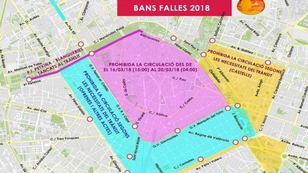 Cortes de tráfic por Fallas