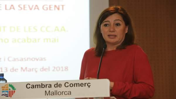 Francina Armengol en la Cámara de Comercio de Mallorca