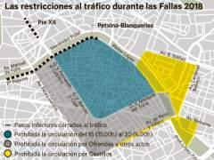 Restricciones al tráfico durante las Fallas de 2018