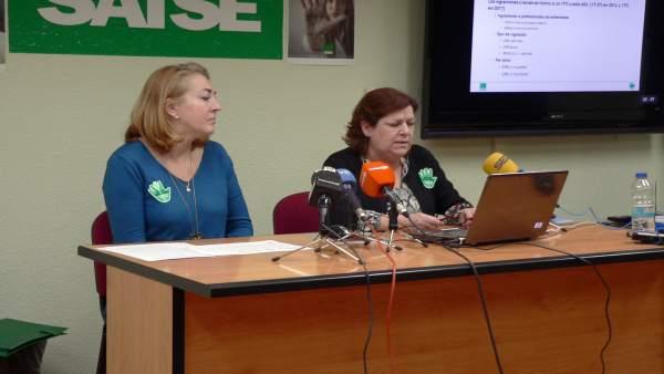 Ana Bonafonte y Ana Asín, de SATSE Aragón, en la rueda de prensa
